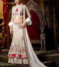 Buy White embroidered georgette unstitched lehenga wedding-season-sale online