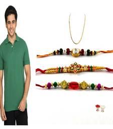 Buy Fabulous combo rakhi with Polo T-shirt green rakhi-gifts-for-brother online