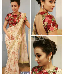 Buy Cream embroidered georgette saree with blouse ethnic-saree online