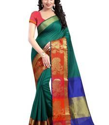 Buy Green hand woven banarasi silk saree with blouse banarasi-silk-saree online