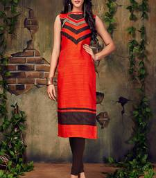 Buy Orange embroidered art silk embroidered-kurtis embroidered-kurti online