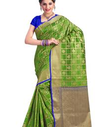 Buy Green woven silk saree with blouse art-silk-saree online
