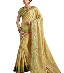 Buy Light yellow embroidered silk blend saree with blouse ethnic-saree online