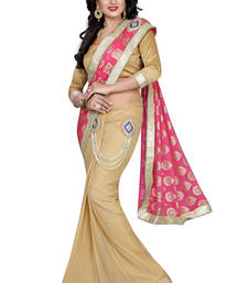 Buy Pink printed faux lycra saree with blouse party-wear-saree online