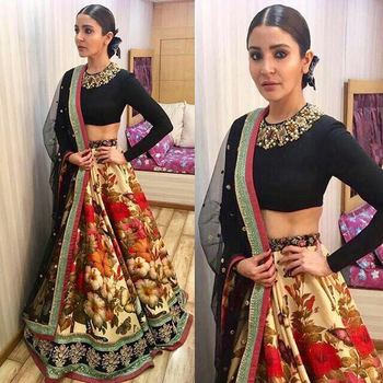 Multicolor embroidered taffeta unstitched lehenga