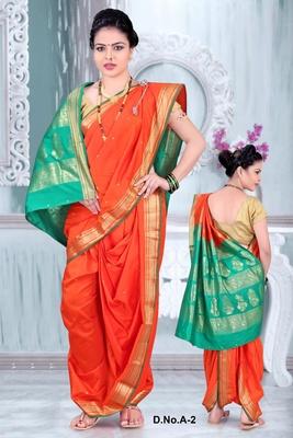 Orange woven poly cotton silk traditional nauvari-saree