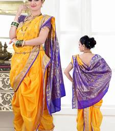 Buy Yellow woven poly cotton silk traditional nauvari-saree Woman online