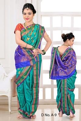 Green woven poly cotton silk traditional nauvari-saree