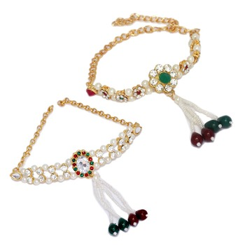 Gold Plated White, Green & Red Color Glass Stone, Pearl Bajuband Combo Jewellery
