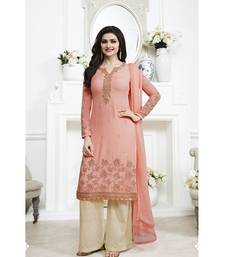 Buy Peach embroidered georgette semi stitched punjabi dress with dupatta palazzo online