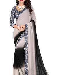 Buy Black printed faux georgette saree with blouse georgette-saree online