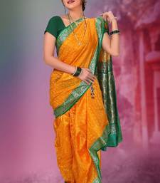 Buy Yellow woven cotton poly nauvari-saree Woman online