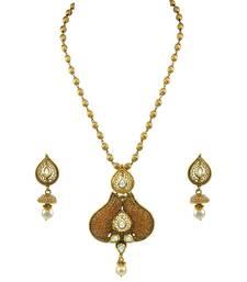 Buy Golden Beige Polki Stones Pendant Earrings Set with Chain Jewellery for Women - Orniza Pendant online