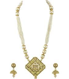 Buy Long Golden Beige Traditional Rajwadi Pendant Set Jewellery for Women - Orniza Pendant online