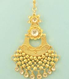Buy Golden Beige Jadau Kundan Passa Side Jhoomer Jewellery for Women - Orniza hair-accessory online