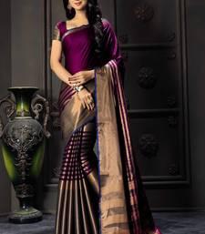 Buy Purple printed cotton silk saree with blouse cotton-silk-saree online