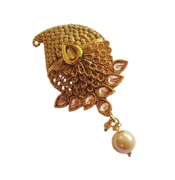 Multi purpose ad zircon golden kundan saree pin brooch