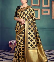 Buy Black woven kanchipuram silk pattu saree with blouse kanchipuram-silk-saree online