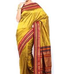 Buy Sudarshan silks Pure Silk  Kanjeevaram Hand women Saree-Golden Color-SLV4-VS-Silk kanchipuram-silk-saree online
