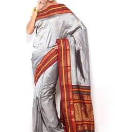 Buy Sudarshan silks Pure Silk  Kanjeevaram Hand women Saree-Grey-SLV12-VS-Silk kanchipuram-silk-saree online