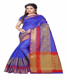 Buy Blue printed cotton saree with blouse cotton-saree online