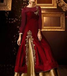 Buy Maroon embroidered georgette semi stitched salwar with dupatta abaya-suit online