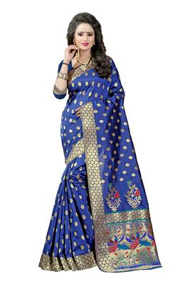 Navy blue woven paithani art silk saree with blouse