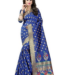 Buy Navy blue woven paithani art silk saree with blouse black-friday-deal-sale online