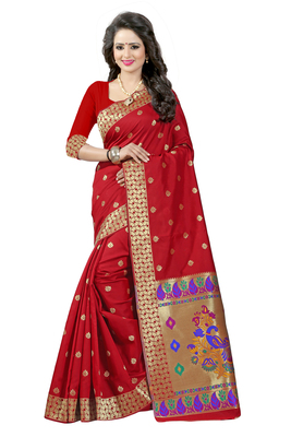 Red woven paithani art silk saree with blouse