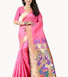 Buy Light pink woven paithani art silk saree with blouse black-friday-deal-sale online