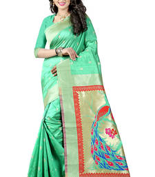 Buy Sea green woven paithani art silk saree with blouse paithani-saree online