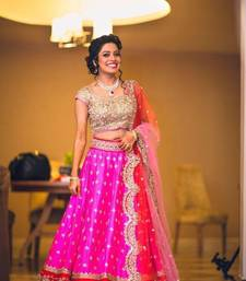 Buy Pink embroidered crepe unstitched lehenga ghagra-choli online
