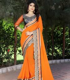 Buy orange embroidered chiffon saree with blouse chiffon-saree online