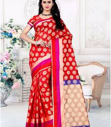 Buy Red printed cotton saree with blouse chanderi-saree online