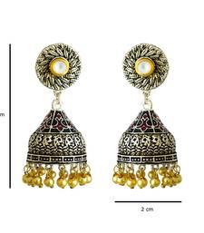 Buy Meenakari Antique pearl silver plated tokri jhumki earring jhumka online