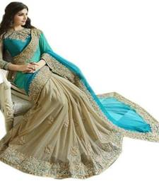Buy Blue embroidered Georgette saree with blouse indian-dress online