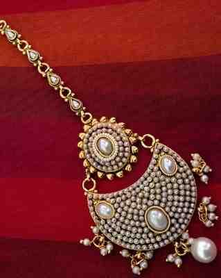 Beautiful golden pearl polki mang tikka Indian ethnic copper hair jewelry AB45