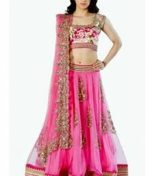 Buy Pink embroidered net unstitched lehenga ethnic-lehenga online