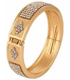 Buy yellow gold crystal kada bracelet for girls and women Bracelet online