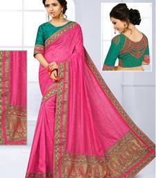 Buy Baby pink hand woven jute saree with blouse jute-saree online