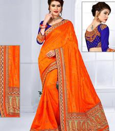 Buy Orange hand woven jute saree with blouse jute-saree online