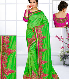 Buy Parrot green hand woven silk saree with blouse silk-saree online