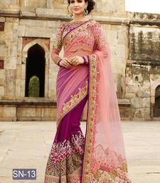 Buy Dark magenta embroidered georgette saree with blouse eid-saree online