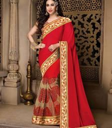 Buy Beige embroidered art silk saree with blouse eid-saree online