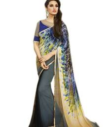 Buy Grey printed georgette saree with blouse printed-saree online