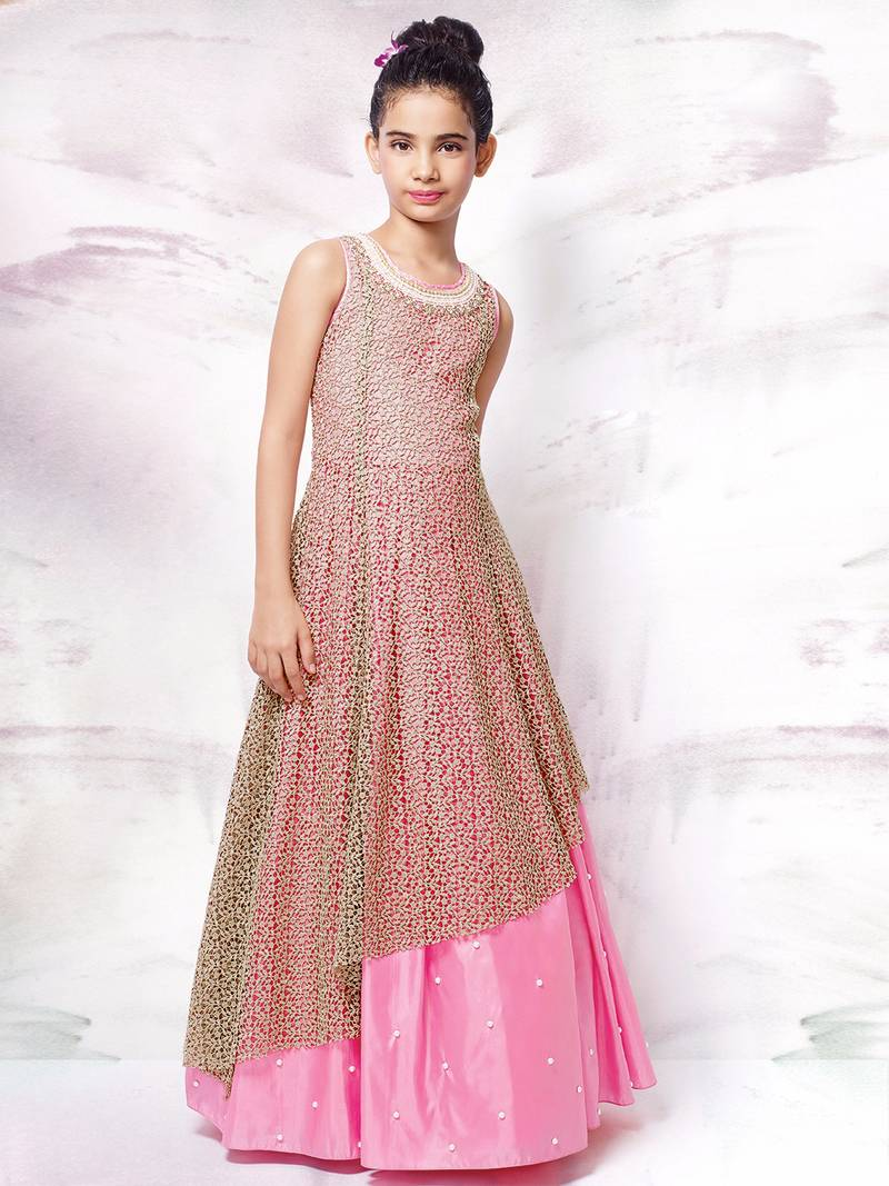 Buy White Button Pink hand work satin SIlk Brown Chiffli Embroidery ...
