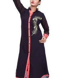 Buy Black embroidered Georgette stitched kurti long-kurti online