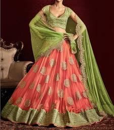 Buy Orange embroidered net unstitched lehenga bridal-lehenga online