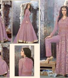 Buy Purple embroidered georgette unstitched salwar with dupatta ethnic-suit online