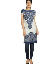 Buy Blue printed cotton ethnic-kurtis ethnic-kurti online